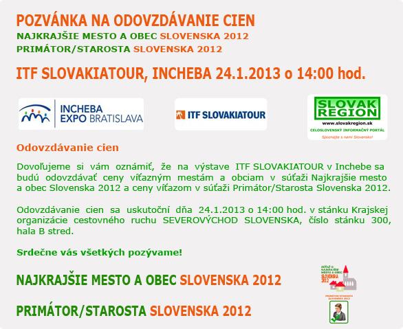 POZVÁNKA NA ODOVZDÁVANIE CIEN - ITF SLOVAKIATOUR, INCHEBA 24.1.2013 o 14:00 hod.