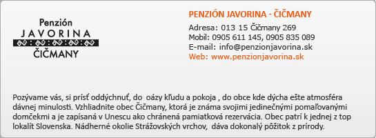 PENZIÓN JAVORINA - ČIČMANY