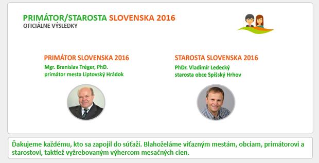 OFICIÁLNE VÝSLEDKY - PRIMÁTOR/STAROSTA SLOVENSKA 2016