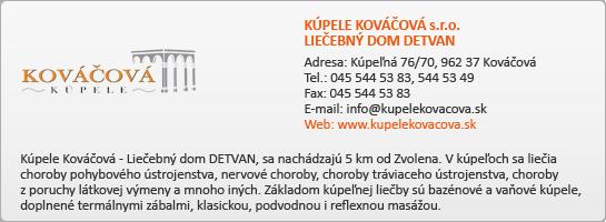 KÚPELE KOVÁČOVÁ s.r.o., LIEČEBNÝ DOM DETVAN